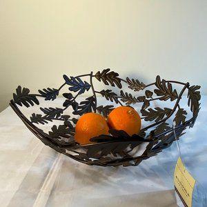 Sonoma Bronze Metal Cut Away Leaves & Acorns Bowl